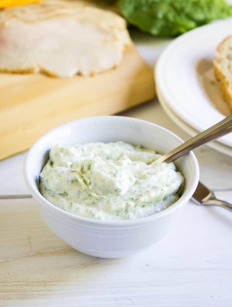 A small bowlful of basil mayonnaise.