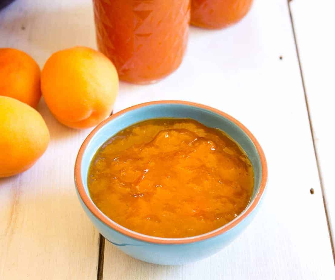 Homemade apricot jam made with just fresh apricots, lemon juice and sugar. beyondthechickencoop.com