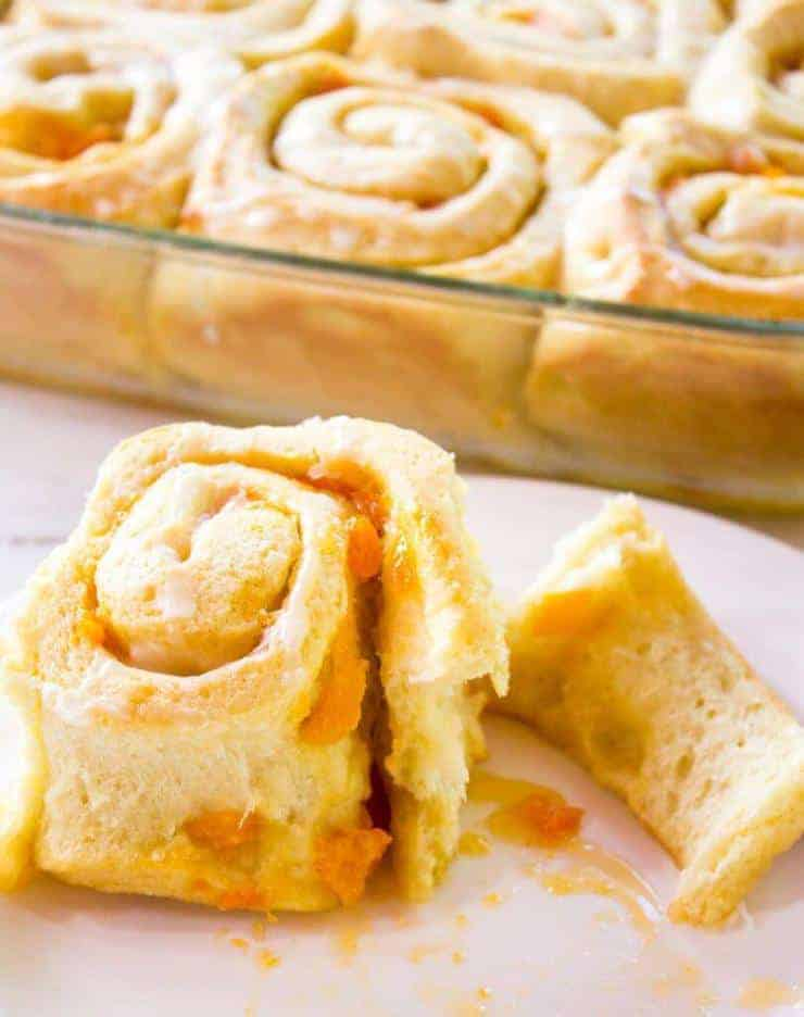 Apricot Sweet Rolls filled with a fresh apricot filling.