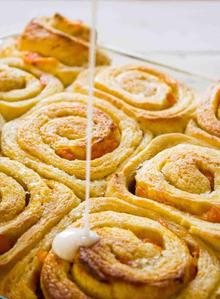 Apricot Sweet Rolls with a fresh sweet drizzle.