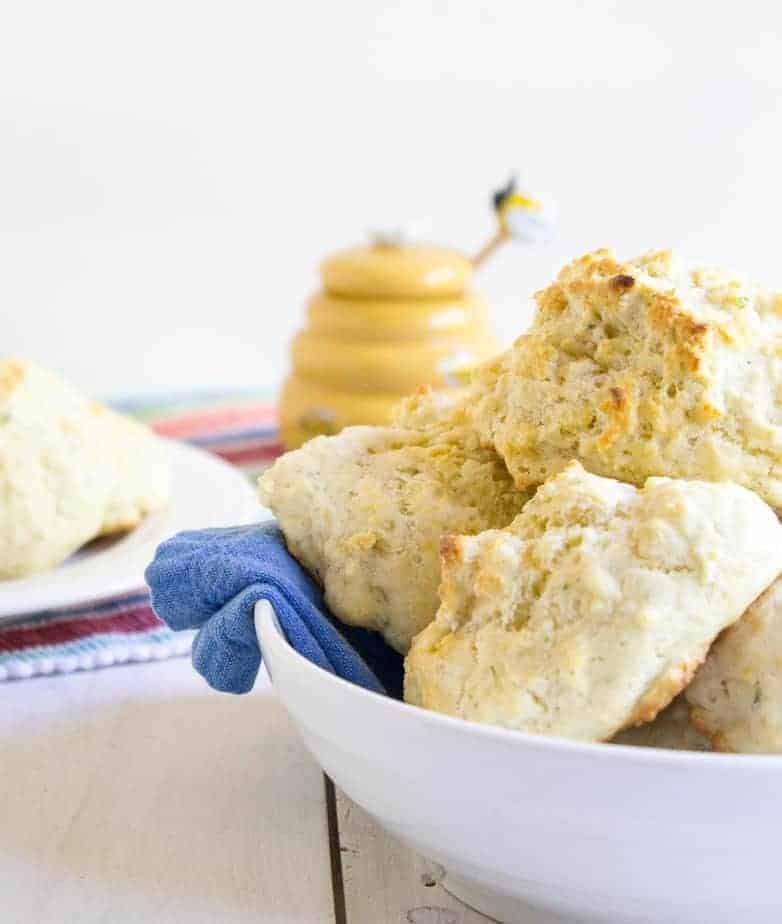 Homemade drop biscuits with cheddar cheese and fresh chives ...