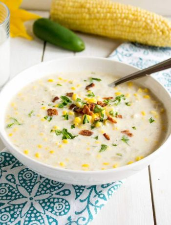 Homemade corn chowder made with fresh, seasonal corn.