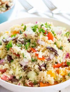 Fresh Veggies, Kalamata Olives, and a light dressing mixed with couscous makes a delicious salad. beyondthechickencoop.com