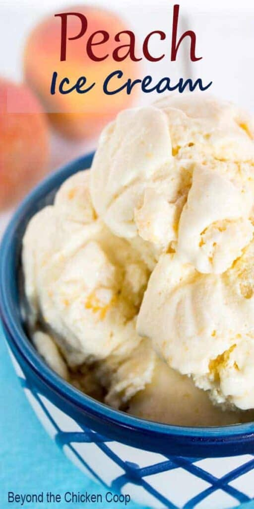 A blue and white bowl filled with homemade peach ice cream.