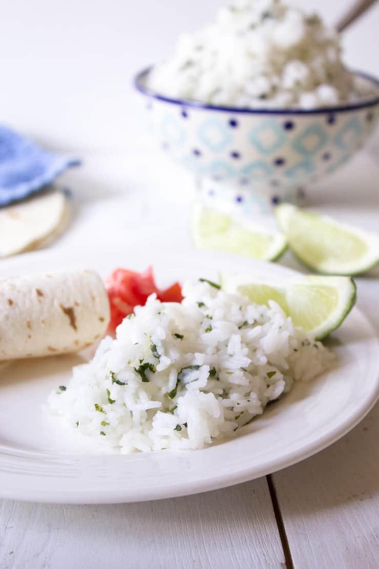 Cilantro Lime Rice served with burritos.