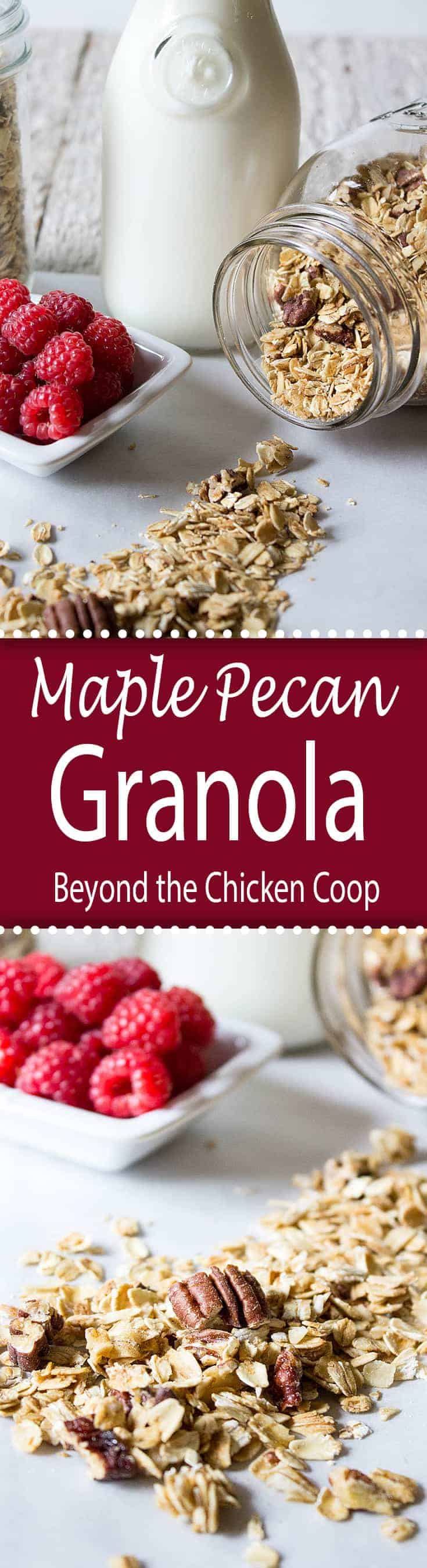Homemade granola sweetened slightly with maple syrup. Perfect for breakfast or snacking.