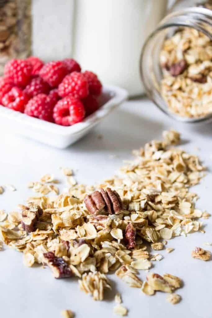 Start your day off on the right foot with this maple pecan granola.