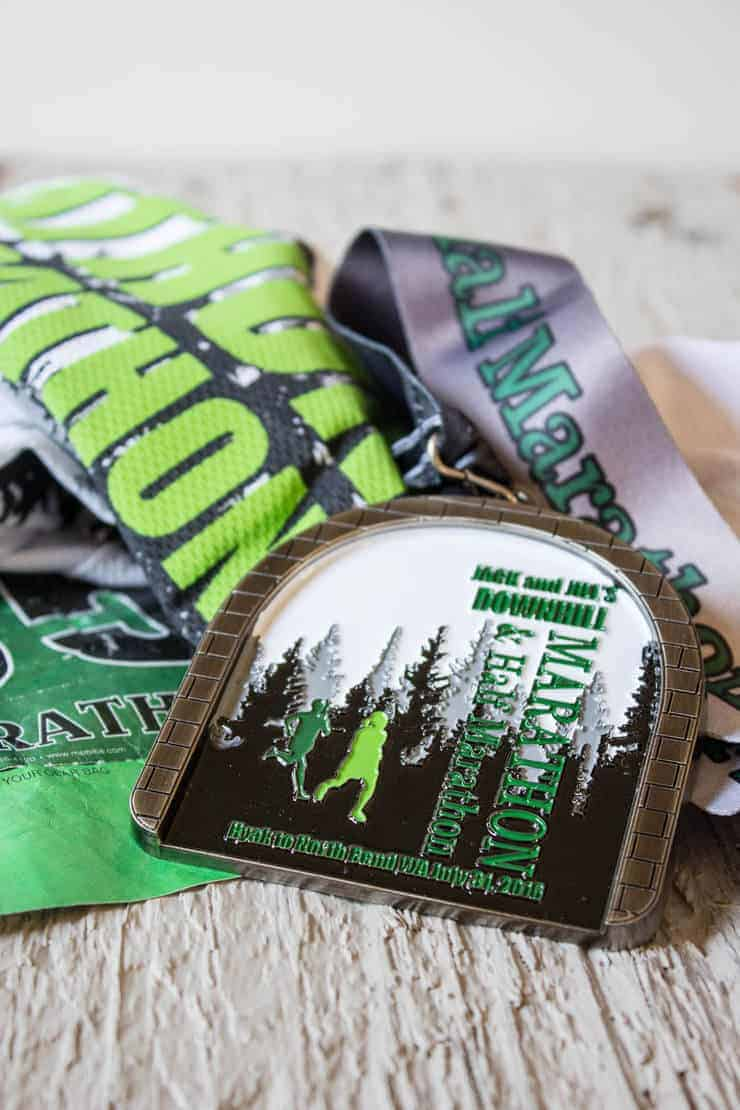 A medal from a half marathon.
