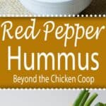 Two images of red pepper hummus.