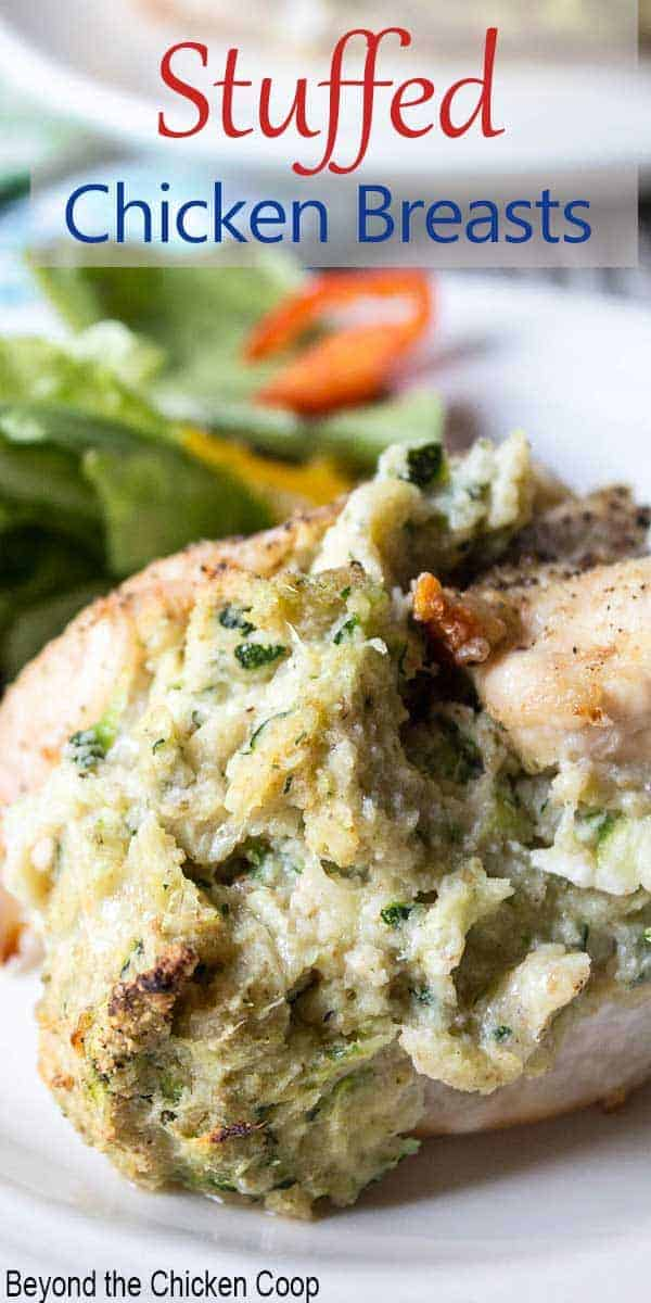 Chicken breast stuffed with cheese and zucchini.