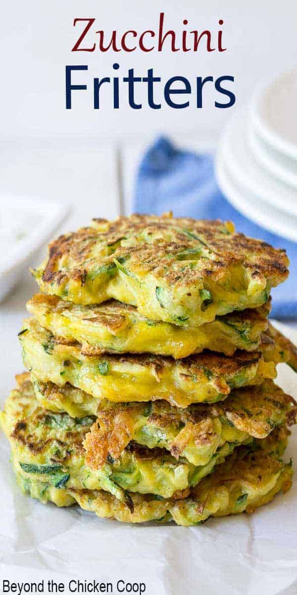A stack of zucchini pancakes.