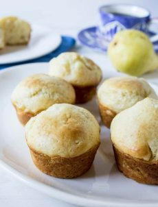 Pear Muffins made with fresh pears and a touch of cardamon.