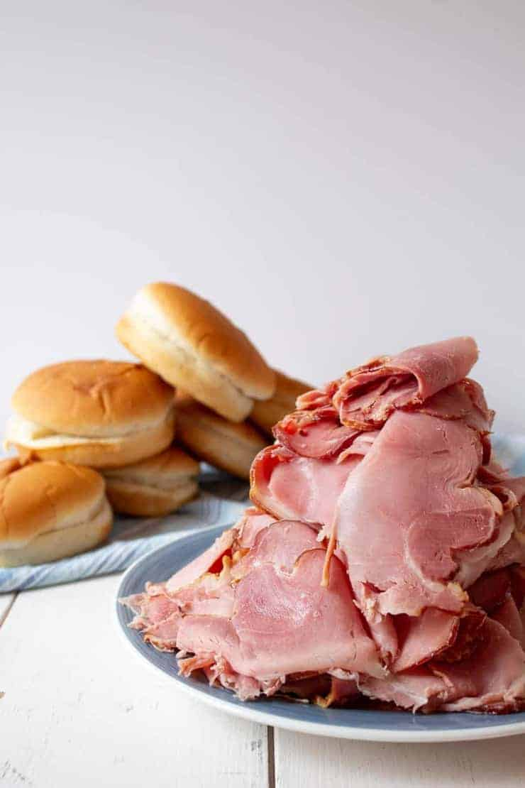 Sliced ham for Baked Ham and Cheese Sandwiches