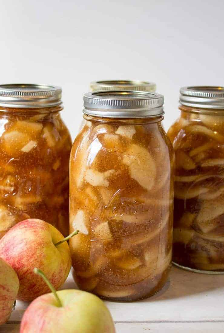 Apple Pie Filling in canning jars.