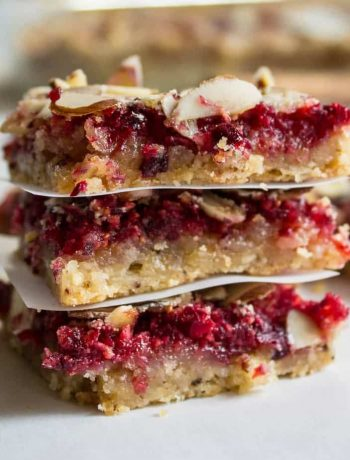 Cranberry Nut Bars! Cranberries and almonds on a shortbread crust.