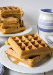 Pumpkin Waffles made with pumpkin puree and pumpkin pie spices.