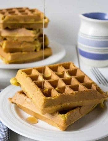 Pumpkin Waffles made with pumpkin puree and pumpkin pie spices.