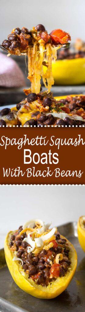 Spaghetti Squash filled with a black bean enchilada filling