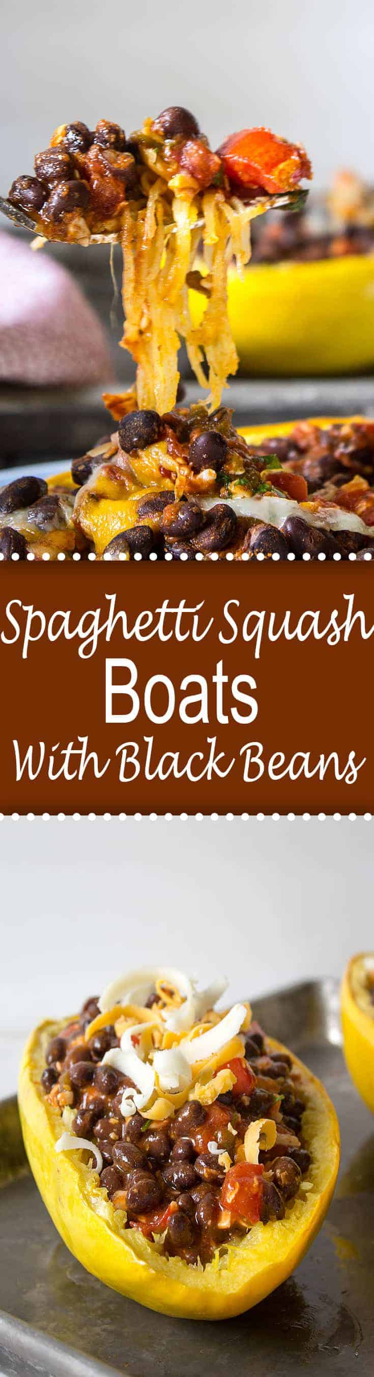 Spaghetti Squash Boats filled with a black bean enchilada filling. This delicious vegetarian dish is also gluten free.