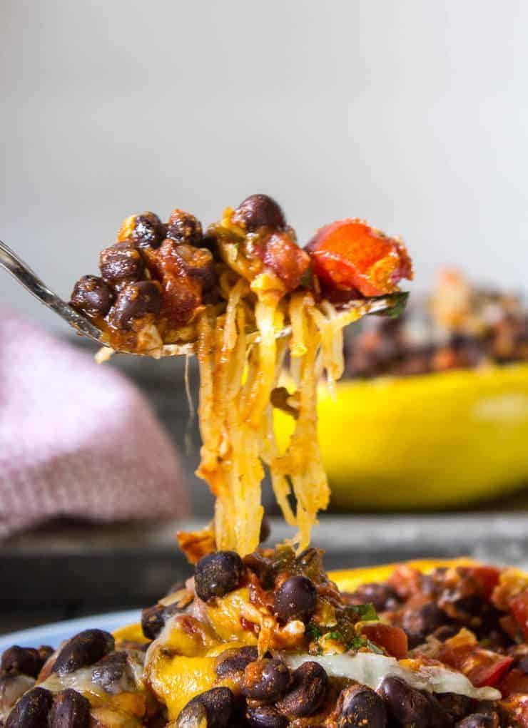 A forkful of Spaghetti Squash with Black Beans