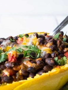Spaghetti Squash Boats with Black Beans