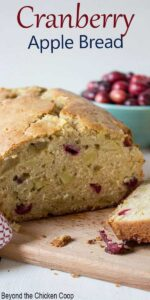 Quick bread filled with cranberries and apples.