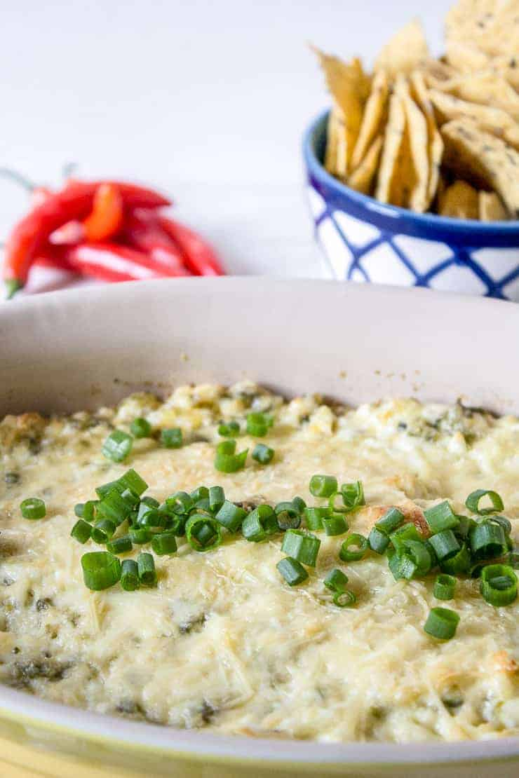 Jalapeno dip topped with green onions.