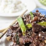 Cooked elk meat on a plate topped with green onions and sesame seeds.
