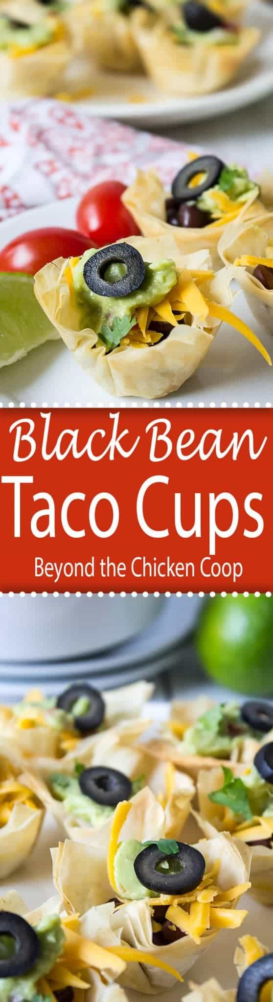 Black bean taco cups have phyllo dough shells and a black bean filling.