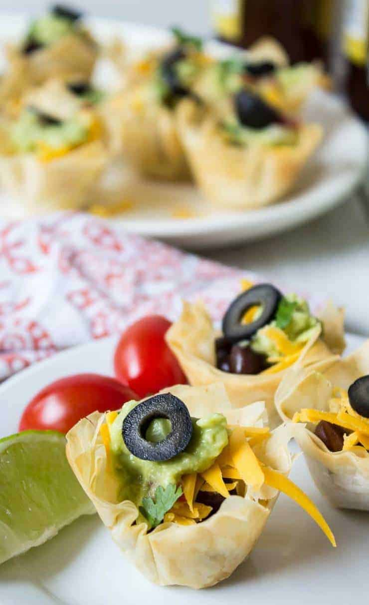 Black Bean Taco Cup Appetizers.
