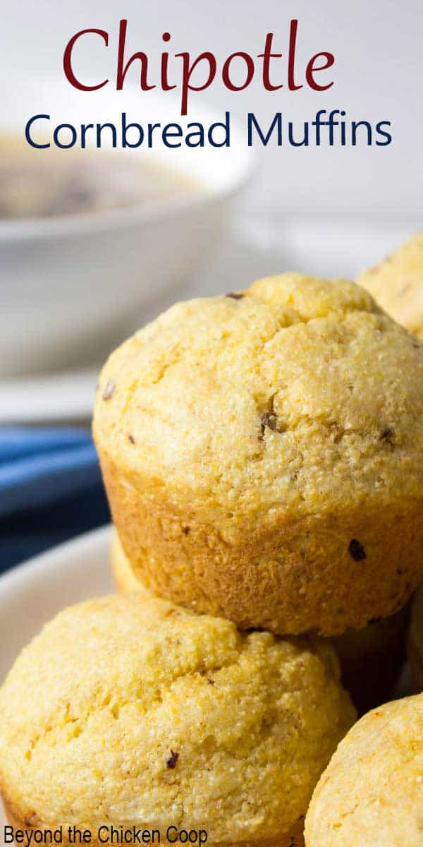 Cornbread muffins with specs of chipotle peppers in the muffins.