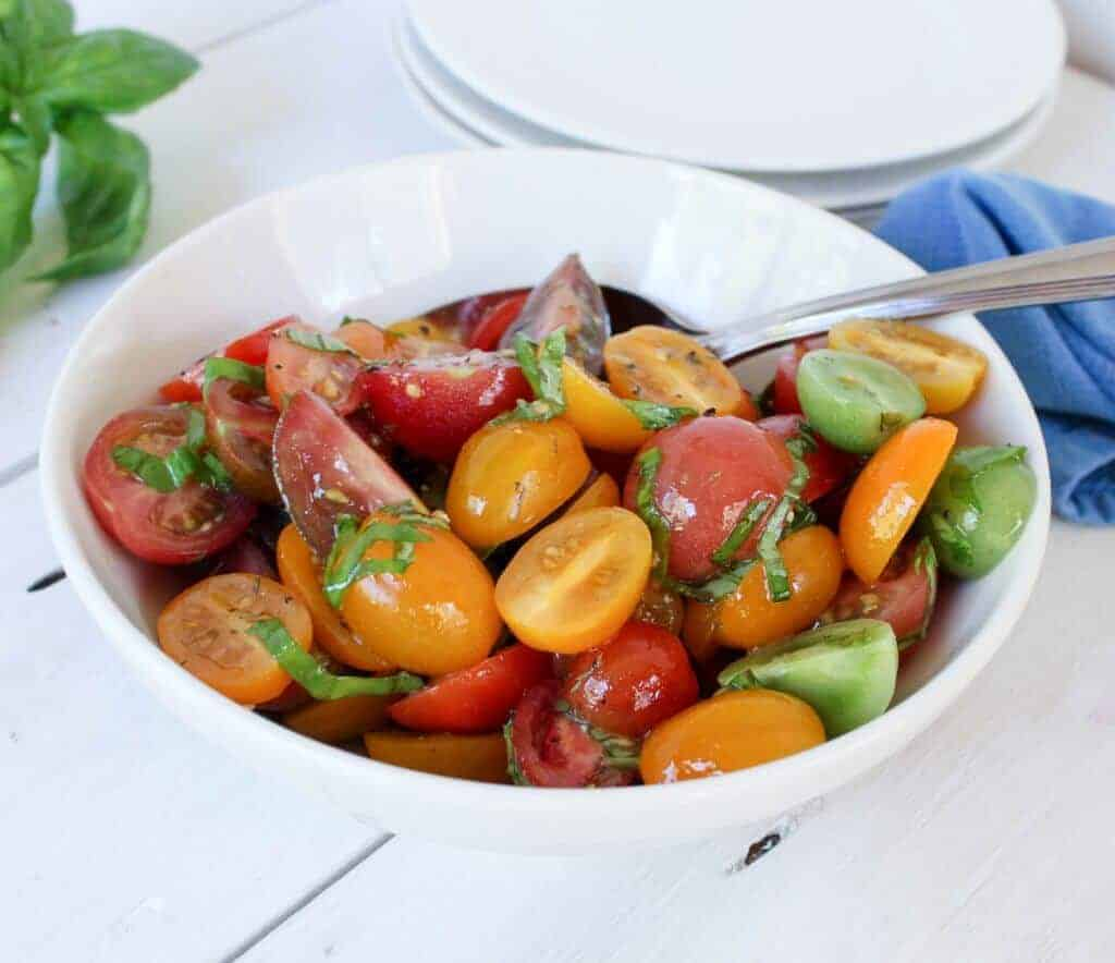 Heirloom Tomato Salad with fresh basil
