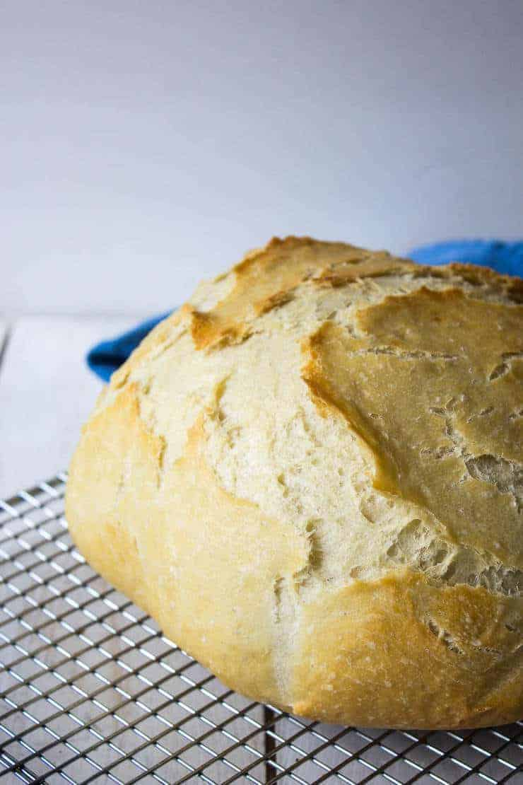 No Knead Artisan Bread cooked in a dutch oven.