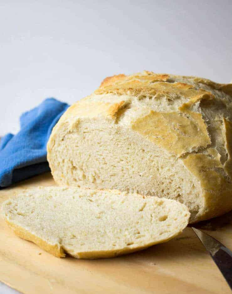 No Knead Artisan Bread is crusty on the outside and soft on the inside.
