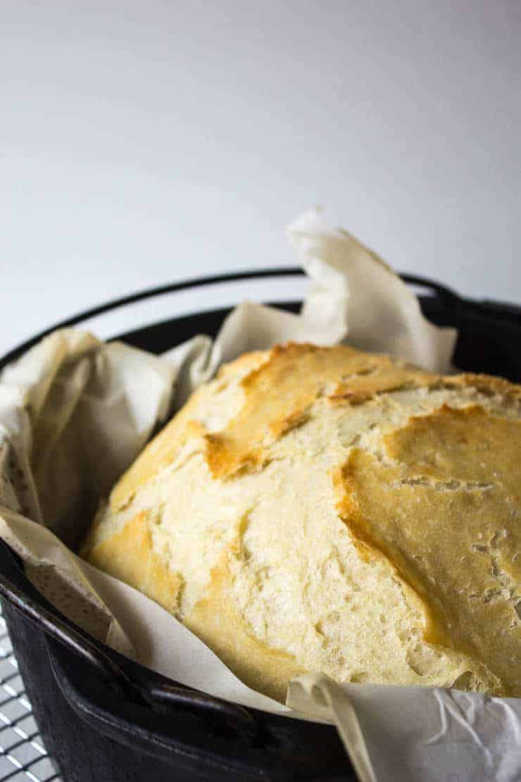 No Knead Artisan Bread made in a dutch oven.