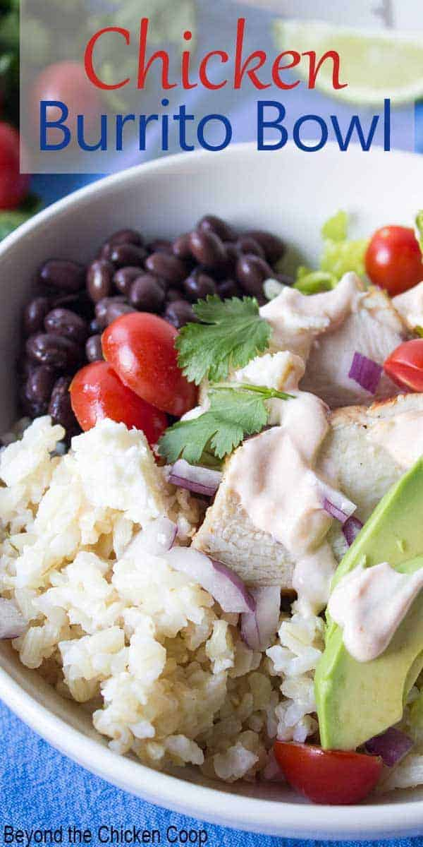 A salad topped with chicken, black beans, rice and avocadoes.