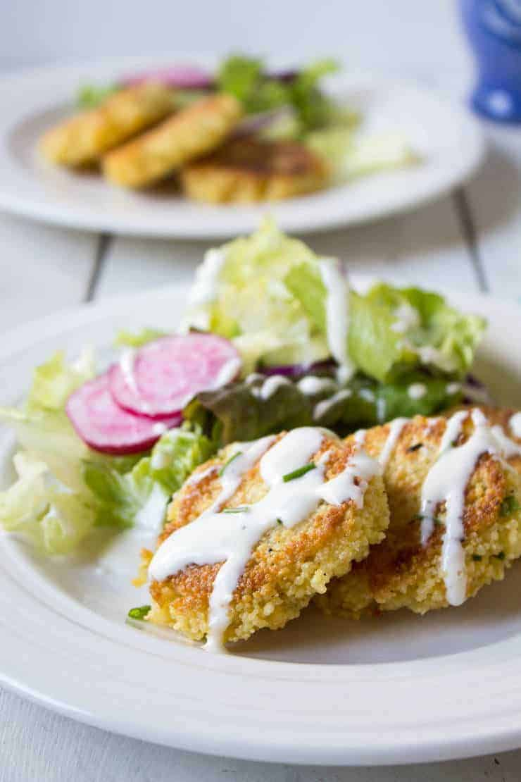 Couscous Cheddar Cakes with a salad.