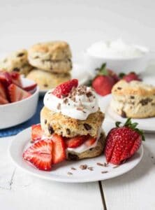 Strawberry Chocolate Shortcake is made with fresh strawberries and chunks of chocolate!
