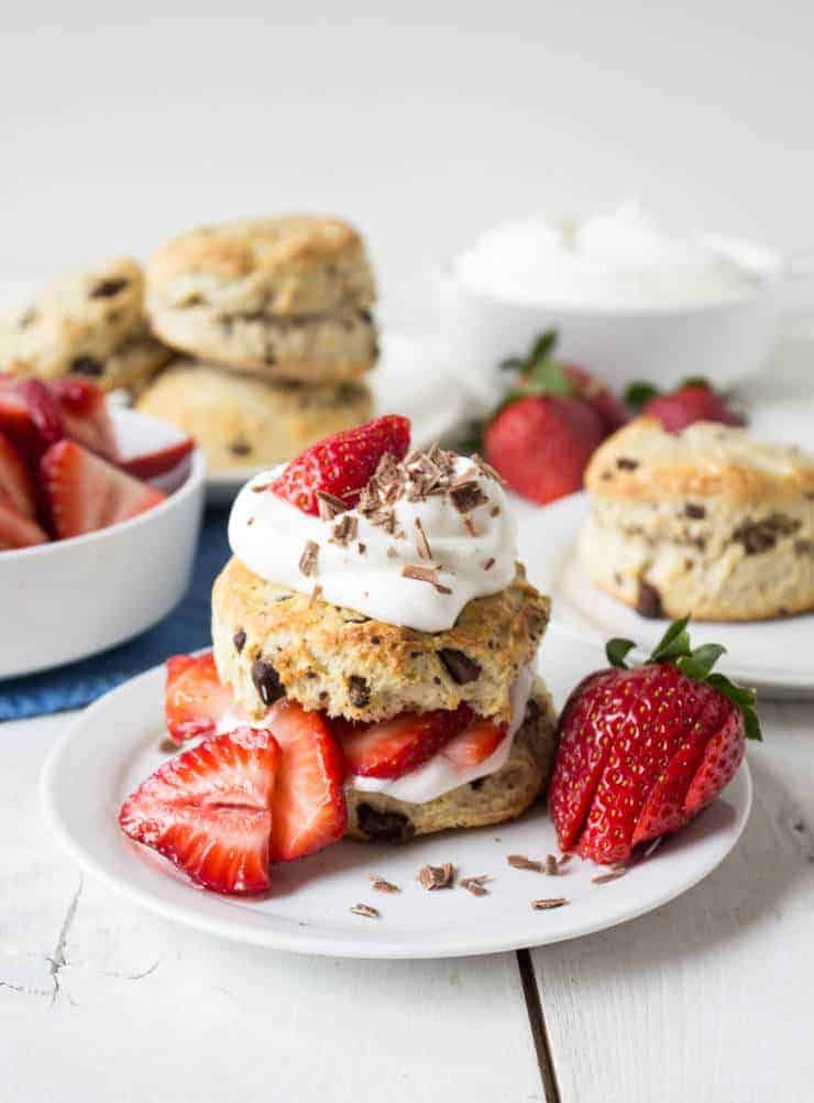 Strawberry Chocolate Shortcake with fresh strawberries and whipped cream.