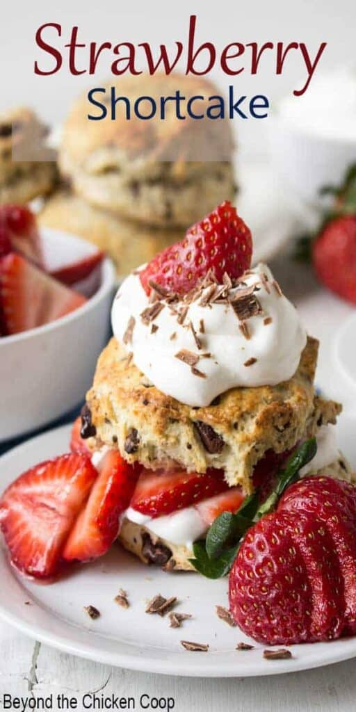 Shortcake stacked with fresh strawberries and whipped cream.