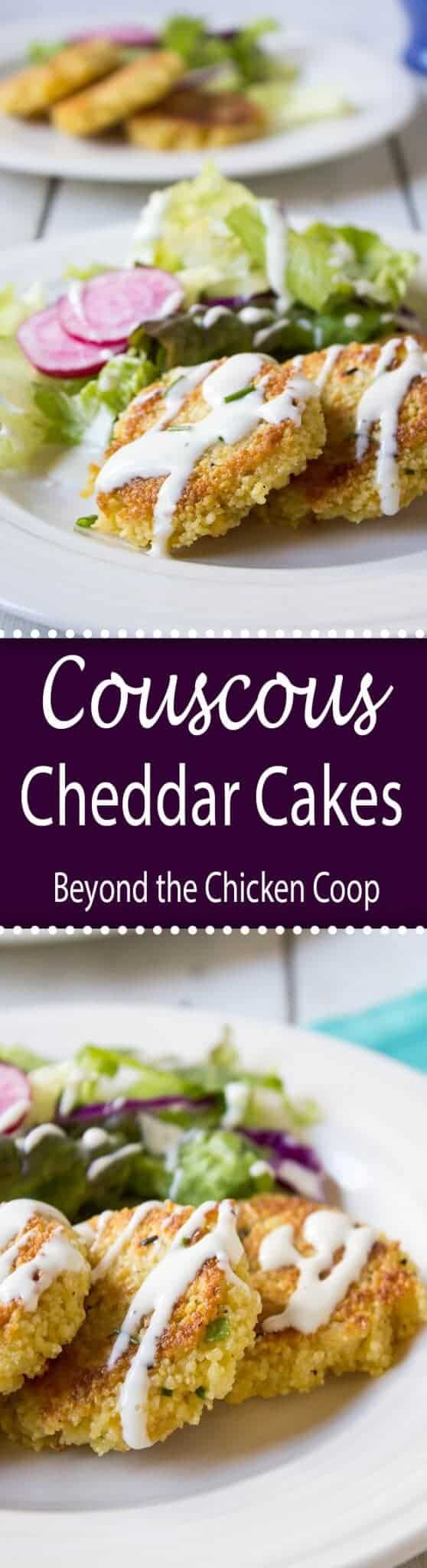 Crispy couscous cheddar cakes are delicious eaten with a salad or as an appetizer.