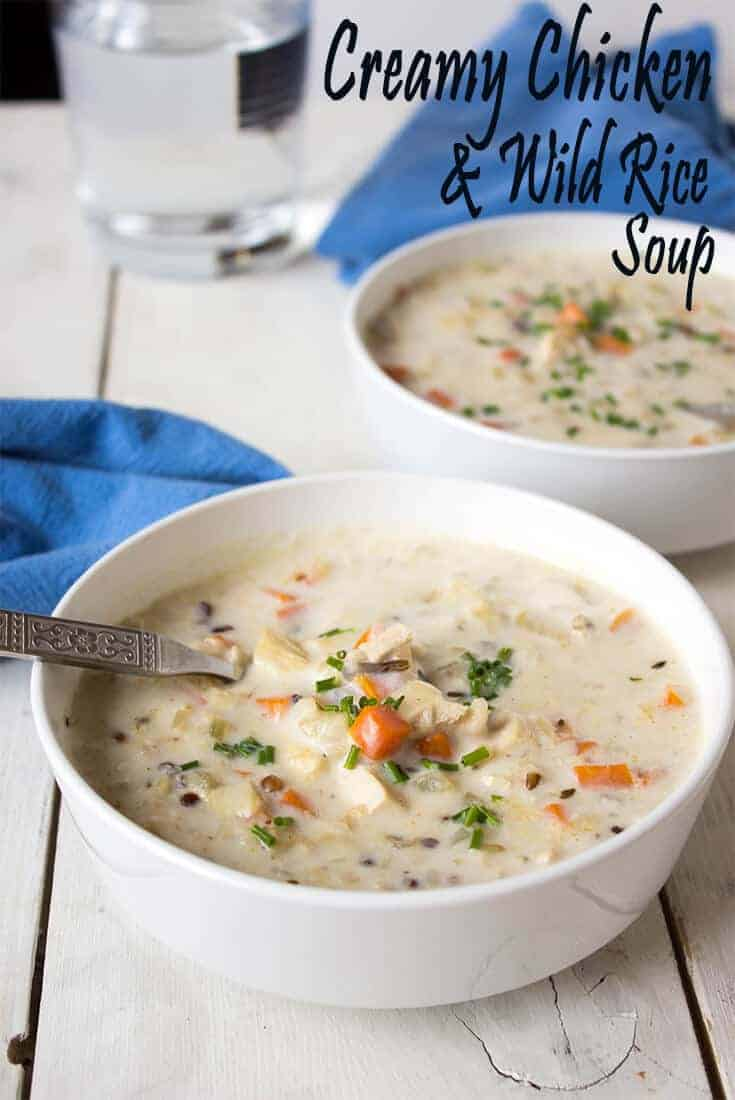 This creamy chicken and wild rice soup is perfect for lunch or a light dinner.