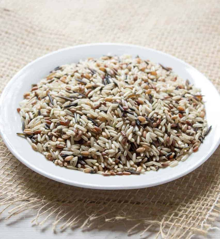 A plateful of wild rice mixed with other rice.