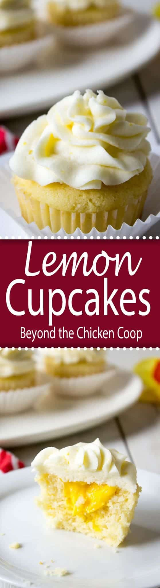 Lemon cupcakes filled with lemon curd and topped with lemon buttercream.