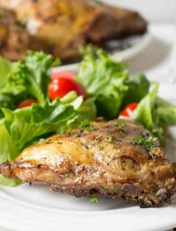 Barbecued chicken on a white plate with a green salad.