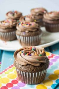 Chocolate cupcakes filled with confetti sprinkles.