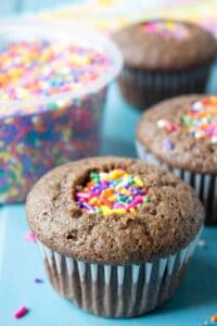 Cupcakes filled with confetti sprinkles!