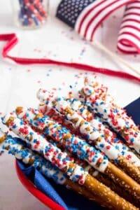 Fun and Patriotic White Chocolate Pretzels
