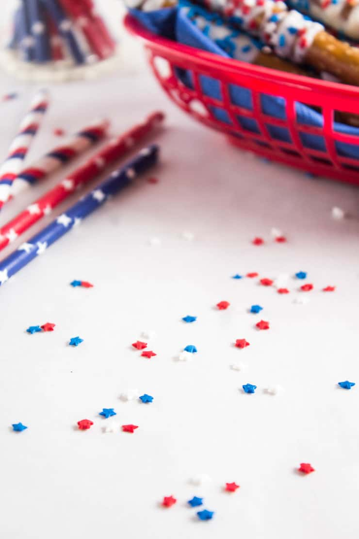 Patriotic White Chocolate Pretzels
