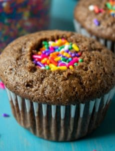 A chocolate cupcake with colored sprinkles in the center of the cupcake.